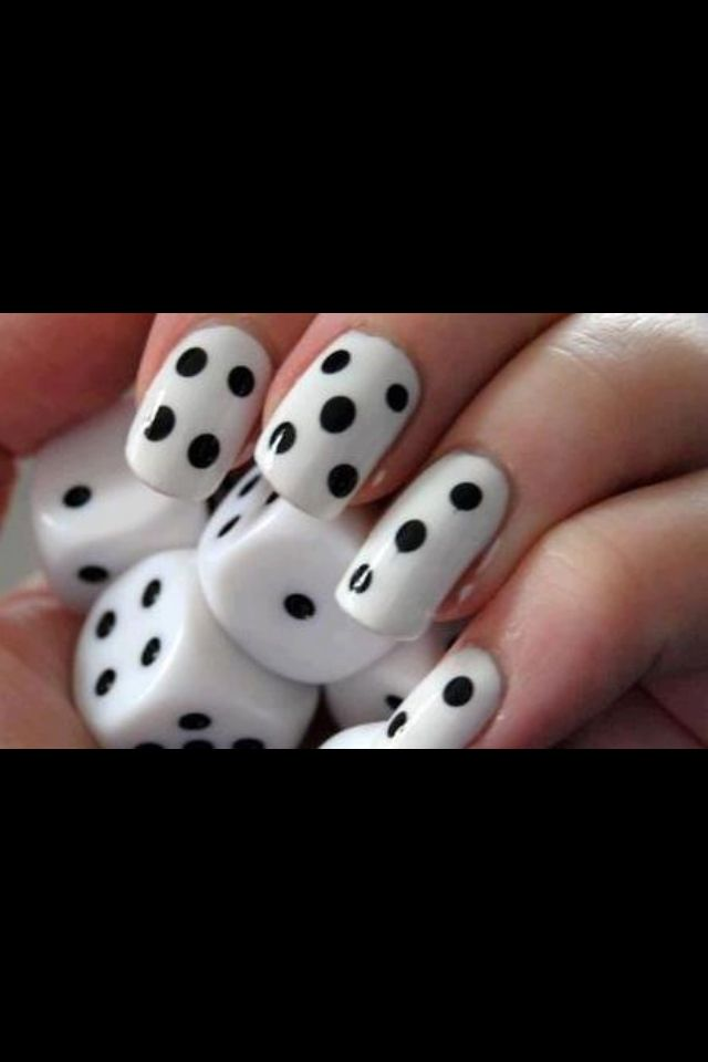 Dice Game Black And White Nail Design Nail Designs Pinterest