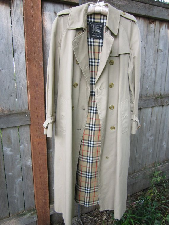 cf2f4ea1022 Label  Burberrys for Harrods Size  womens size 12 L Details  classic khaki  trench coat. nova check lining. leather buckles at sleeve ends and