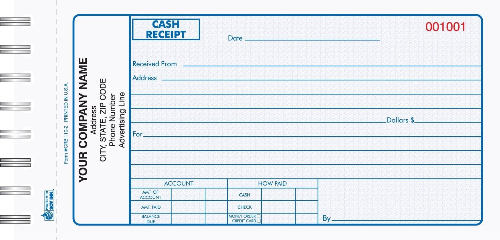 2 Part Blue Cash Receipt Book Single Page Magnetic Business Cards Free Receipt Template Bound Book
