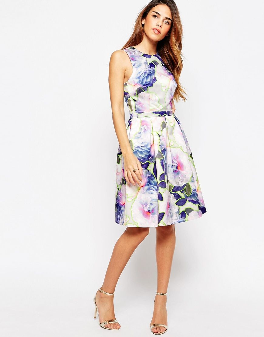 Image 4 ofWarehouse Neon Floral Prom Dress