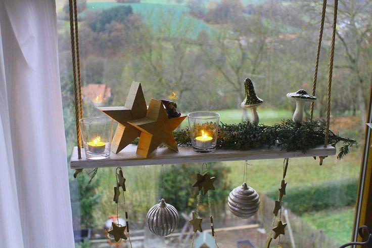 Hängetablett Hängeregal  Fensterdeko Kerzenständer Windlichter Advent weiss |... #fensterdekoweihnachten