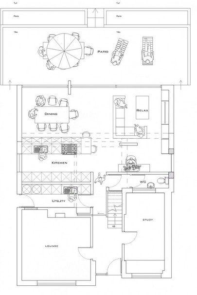Plano de casa moderna con espacios abiertos y 4 for Distribucion de una casa de una planta