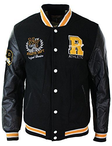 Mens Baseball Varsity Letterman College Fleece Jacket Badge PU ...