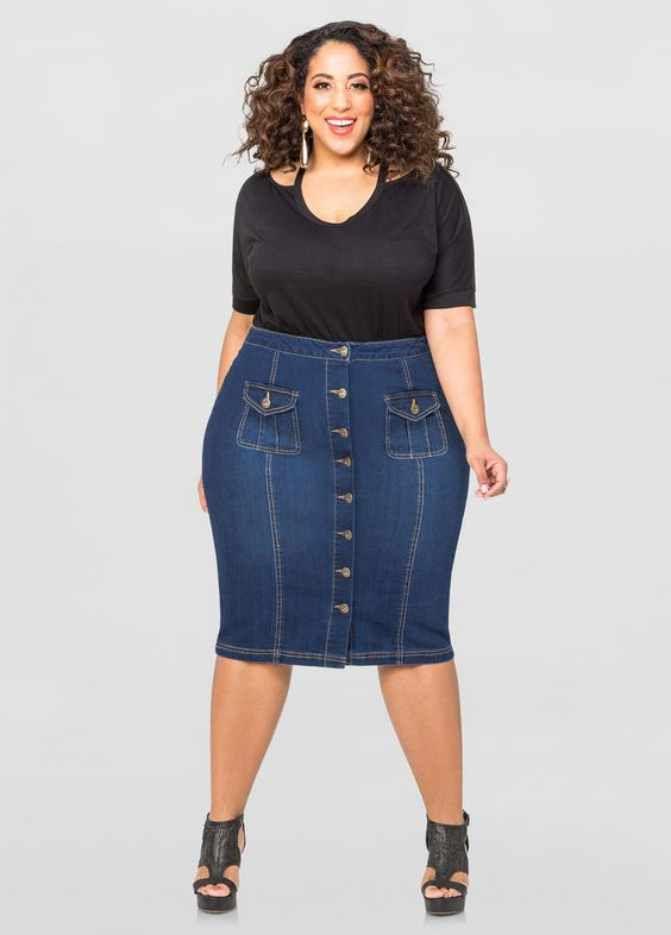 b58db913c3 Plus Size Jean Skirts | Jean Skirts | Button front denim skirt ...