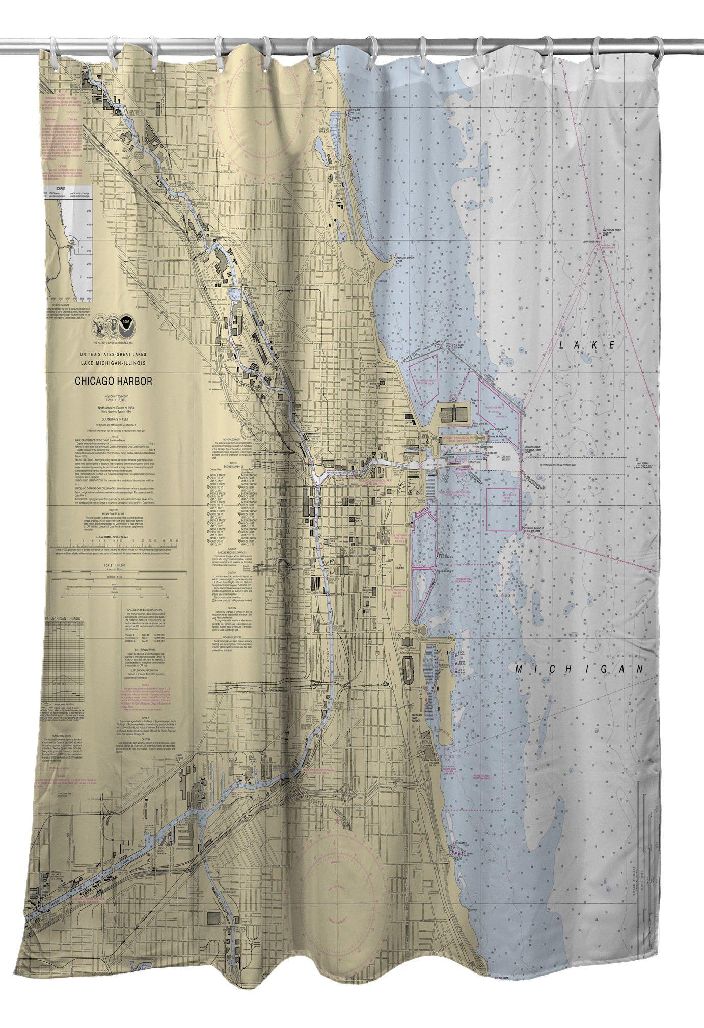 Il Chicago Harbor Il Nautical Chart Shower Curtain Nautical