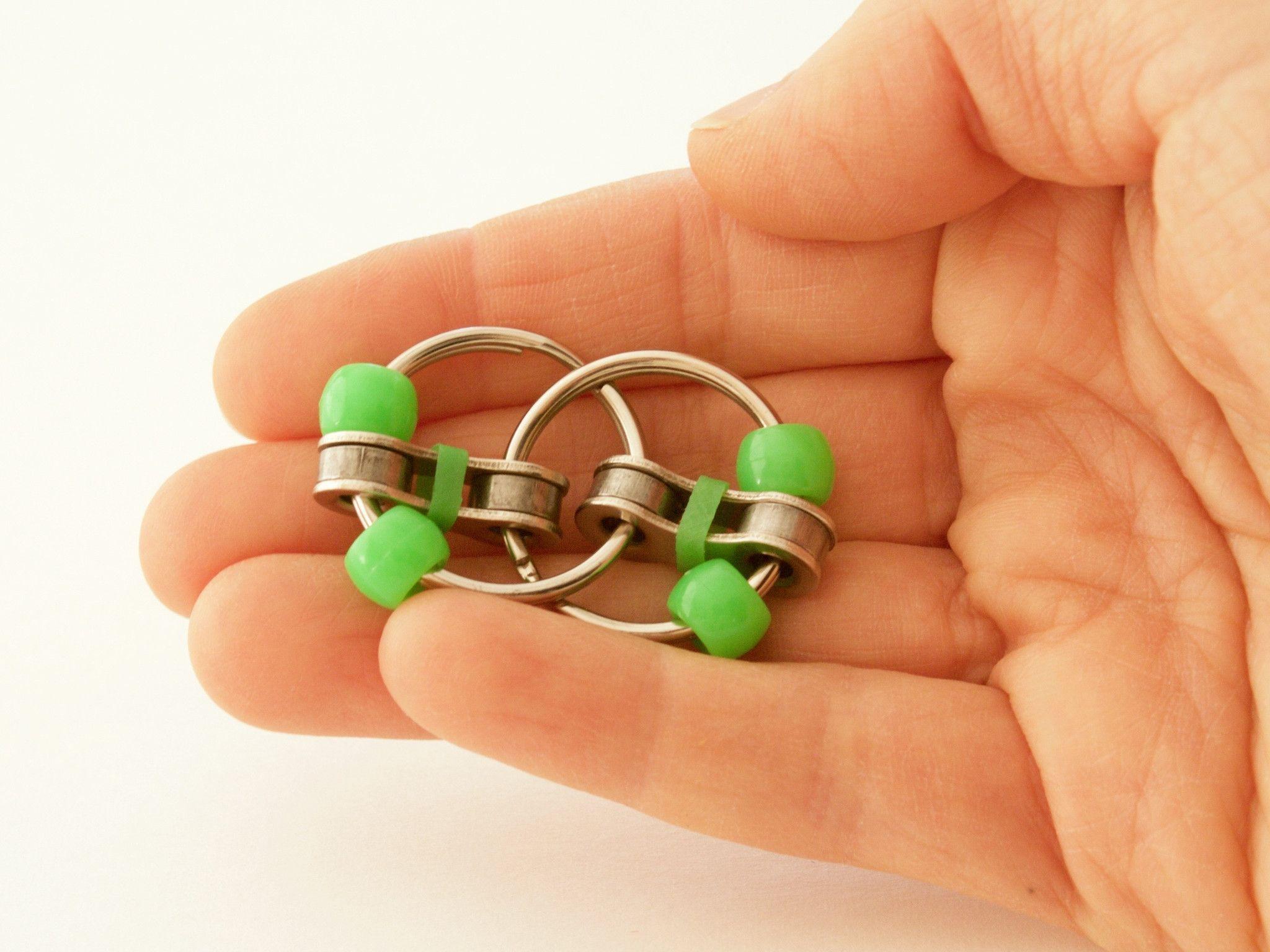 Bike chain fidget toy loosey fidget green pocket sized