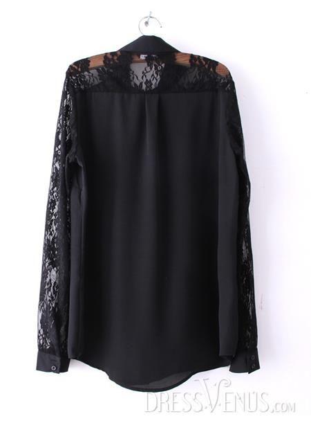 US$24.41 Delicate Pure Color Split Joint Chiffon Lace Blouse. #Blouses #Split #Chiffon #Lace