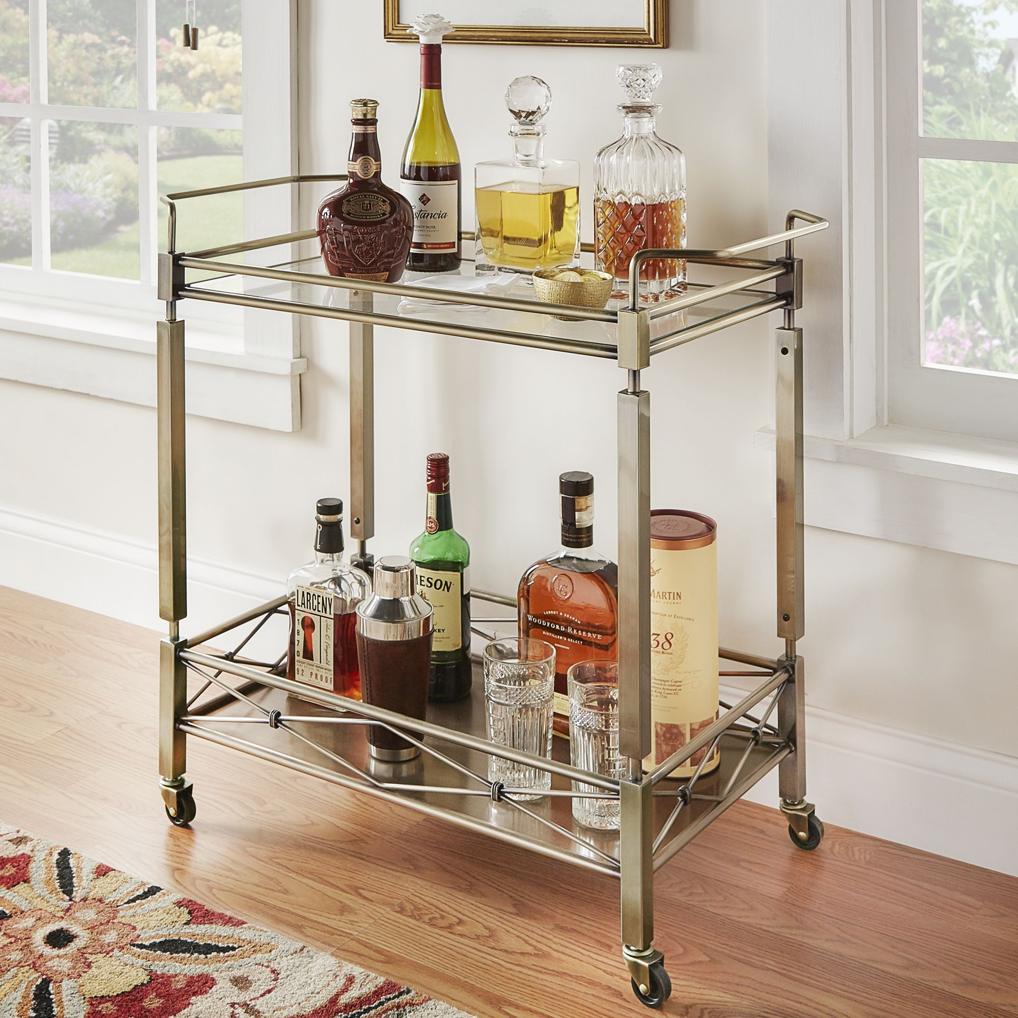 Inspire Q Metropolitan Antique Brass Metal Mobile Bar Cart with Top