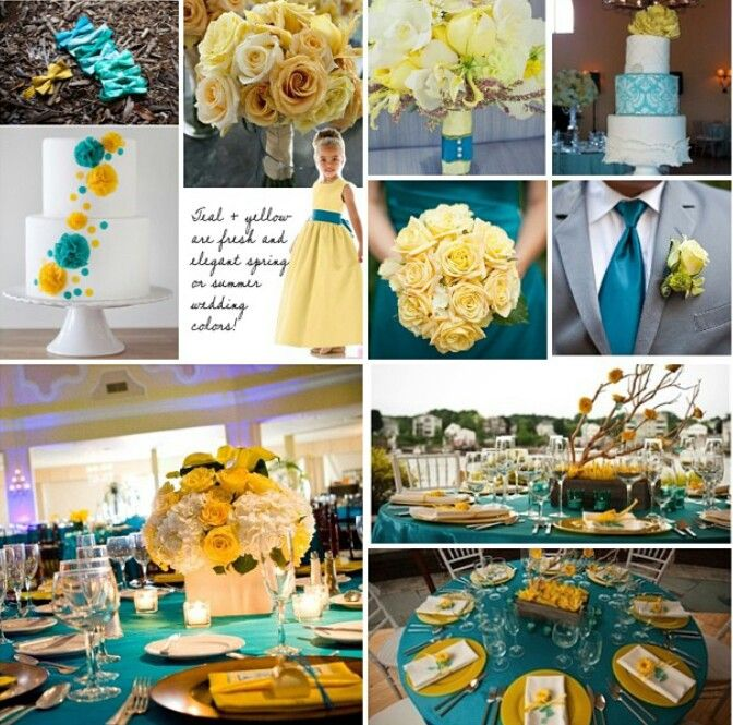 Yellow And Turquoise Wedding Theme In 2019
