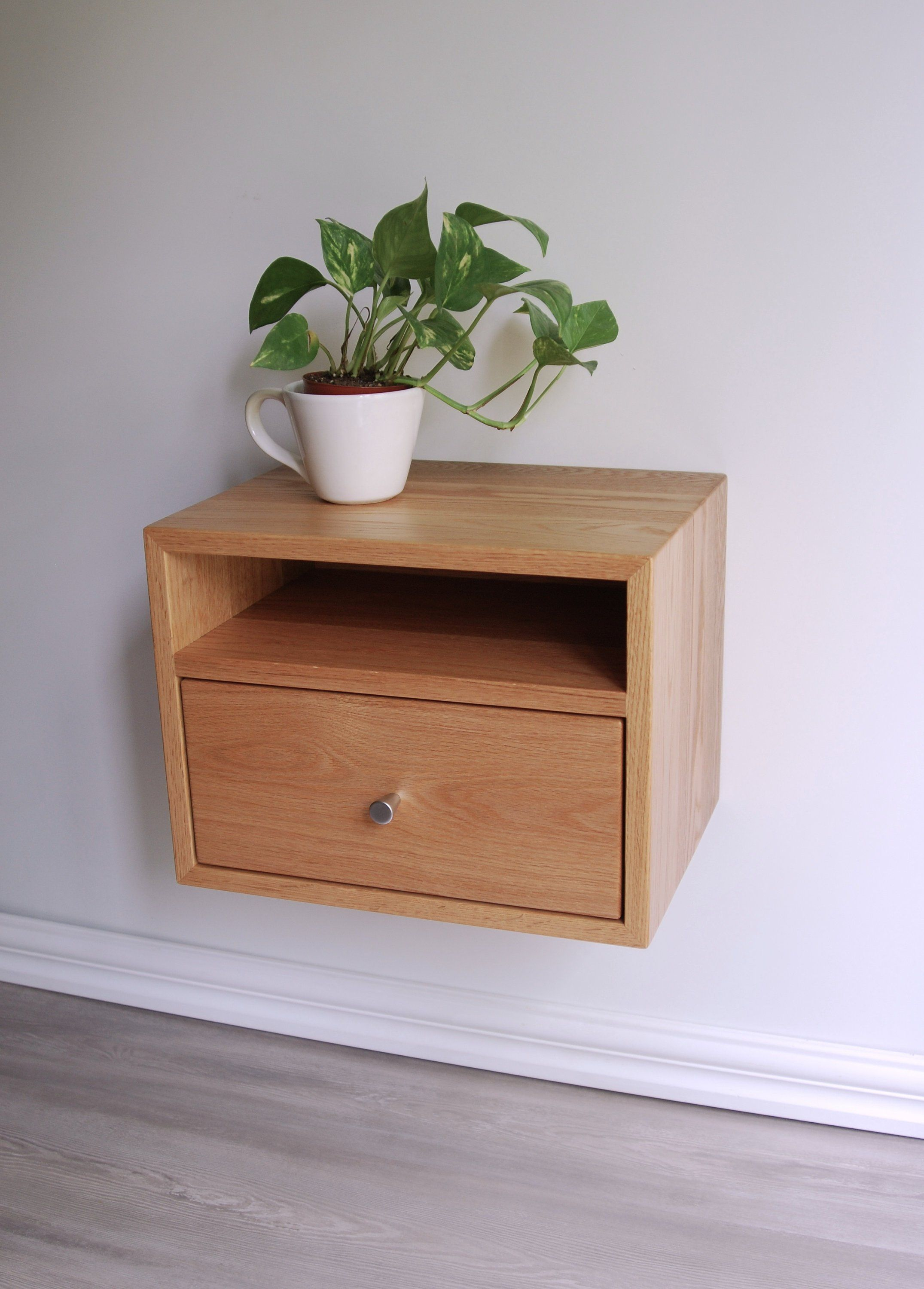 Floating Nightstand With Drawer And Open Shelf Oak Wood Hanging Bedside Table Scandinavian M Bedside Table Scandinavian Open Shelving Floating Nightstand