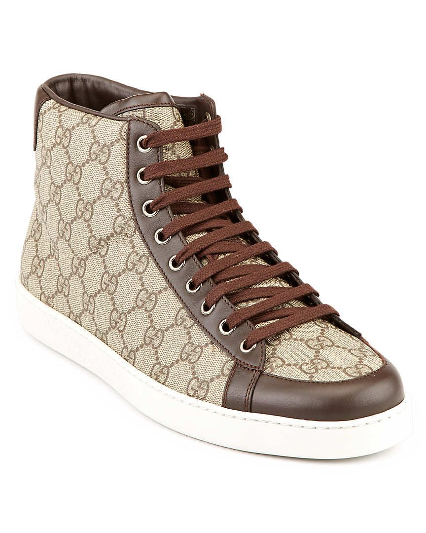 86030b3f666 Gucci GG Supreme Canvas High-Top Sneaker http   digitalthreads.co Guccio