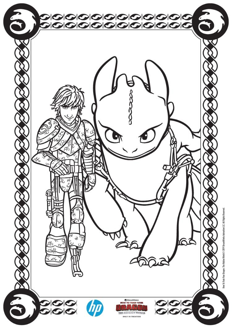 How To Train Your Dragon The Hidden World Prints From Hp Dragon Coloring Page How Train Your Dragon Cute Toothless