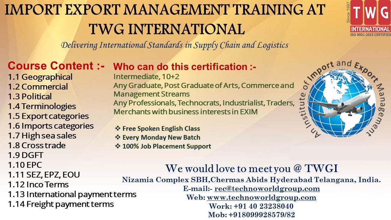 IMPORT EXPORT MANAGEMENT TRAINING AT TWGInternational