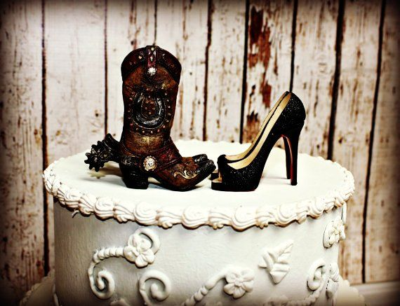 Country Western Wedding Cake Topper His And Hers Cowboy Boots