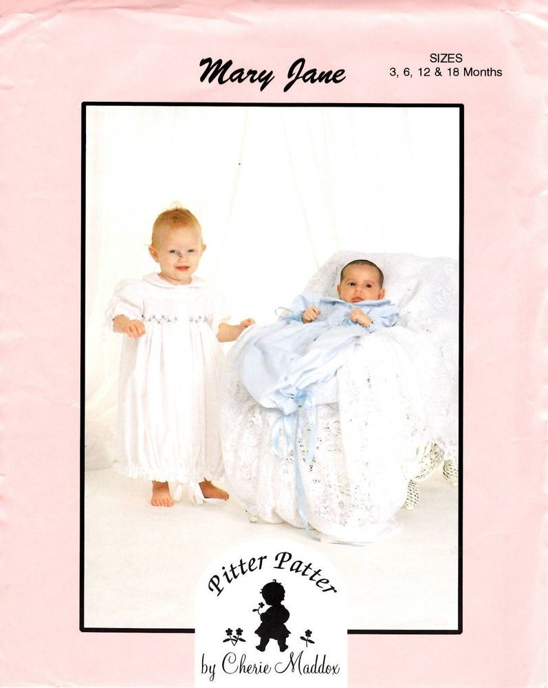 Pitter Patter Sewing & Smocking Pattern Baby Mary Jane GOWN 3-6-12 ...