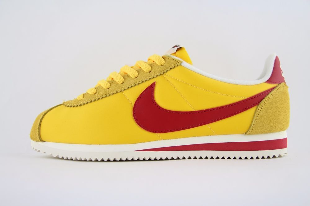 low priced f1c1a f2189 New Mens Nike Classic Cortez Nylon OG AW Yellow Red Trainers UK 9 BNB  844855 750