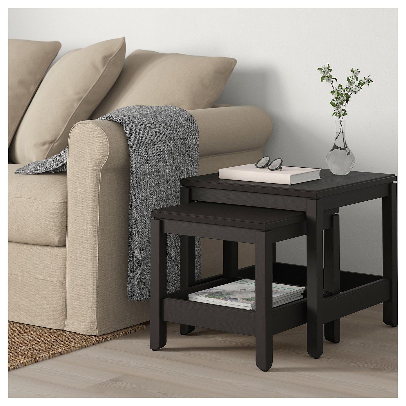 Havsta Nesting Tables Set Of 2 Dark Brown Ikea Beige Sofa Living Room Nesting Tables Ikea