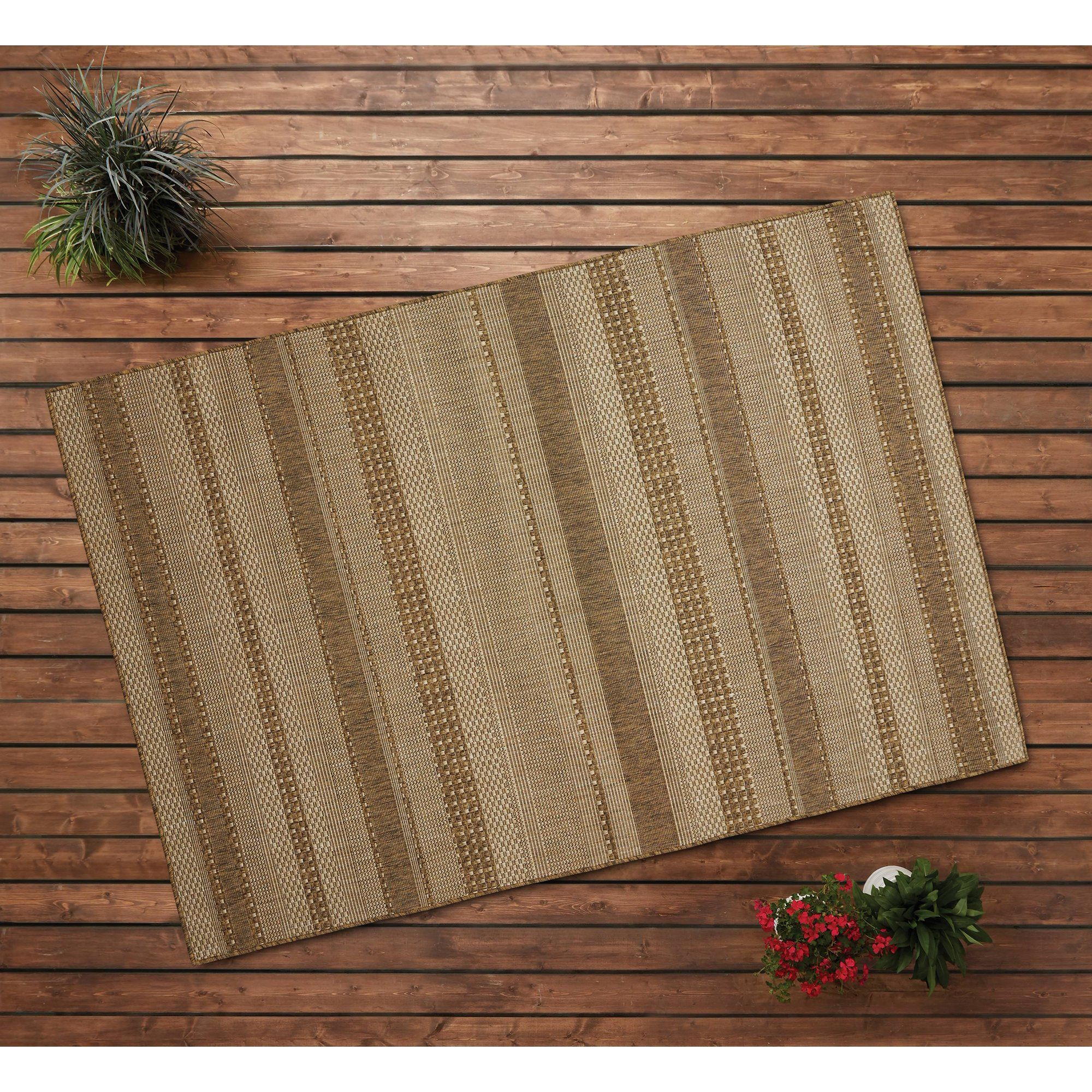 Better Homes Gardens 5 X 7 Natural Stripe Indoor Outdoor Area Rug Walmart Com Walmart Com Versatile Rug Outdoor Area Rugs Indoor Outdoor Area Rugs