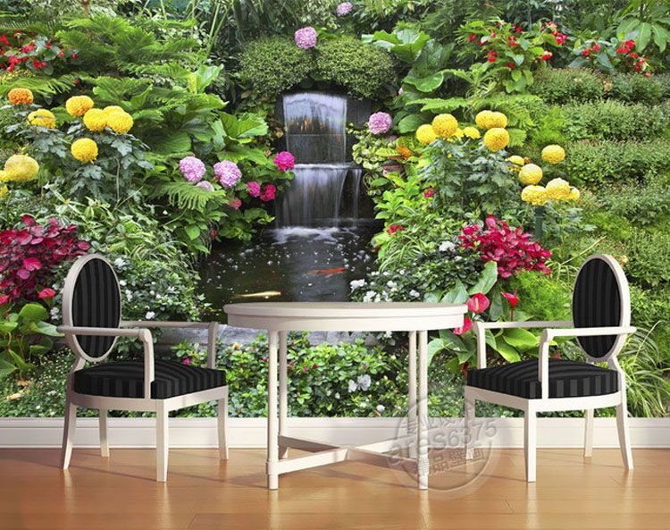 Flowers Fountain Photo Wallpaper Personalized Custom Wall Murals Delectable Bedroom Design Online 3D Design Ideas