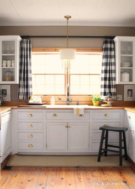 Beautiful Buffalo Plaid Black And Natural Curtains Window Treatments Valances Choose Width Of Panels Kitchen Window Decor Stylish Kitchen Home Decor Kitchen