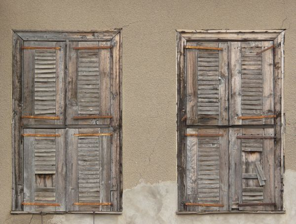 Old Wood Window Texture Closed By Shutters With Lines
