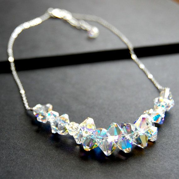 Aurora Borealis Swarovski Crystal Necklace by GreenRibbonGems