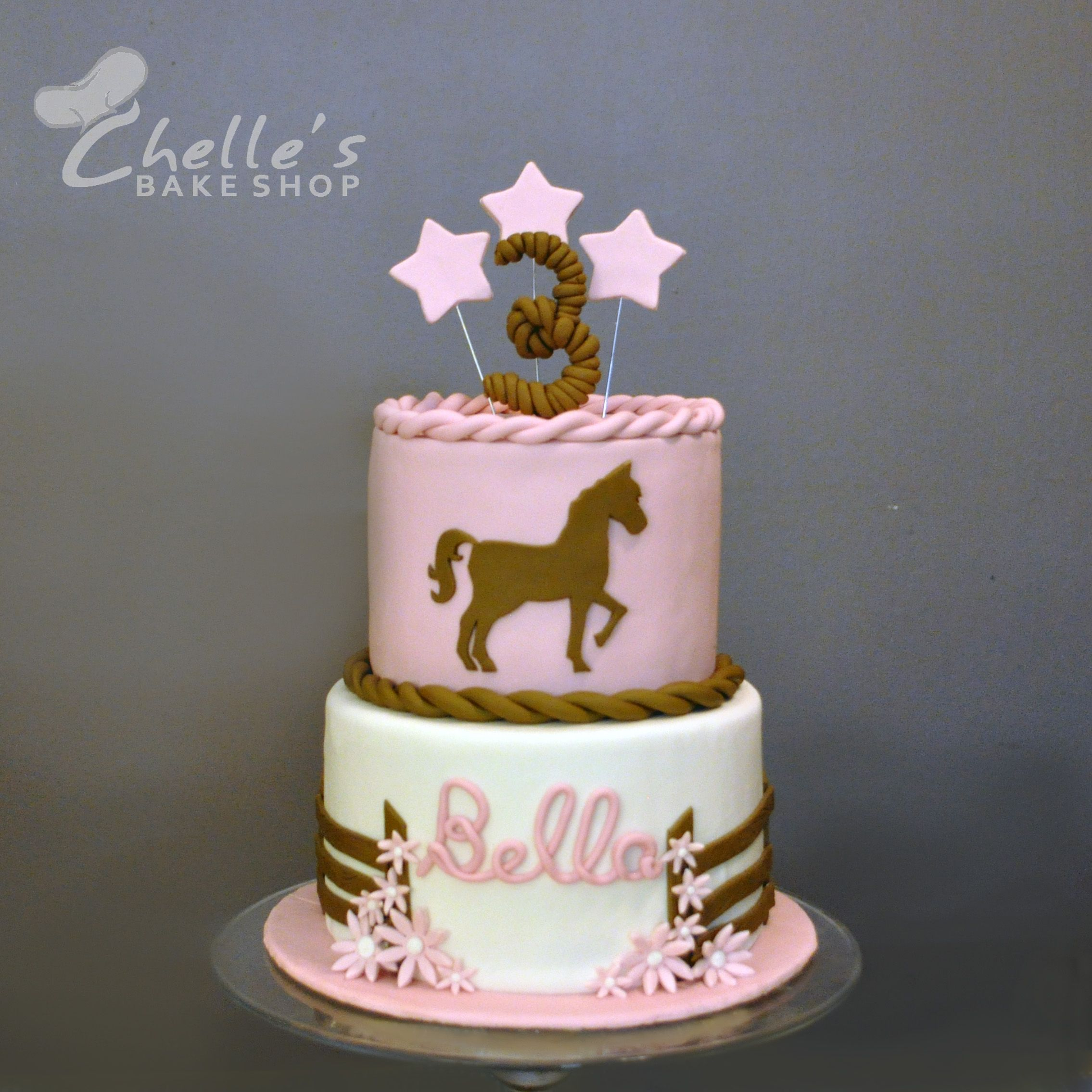This Pink And Brown Horse Cake Was For A Little Girl Turning 3. The Horse Silhouette Was Cut Out