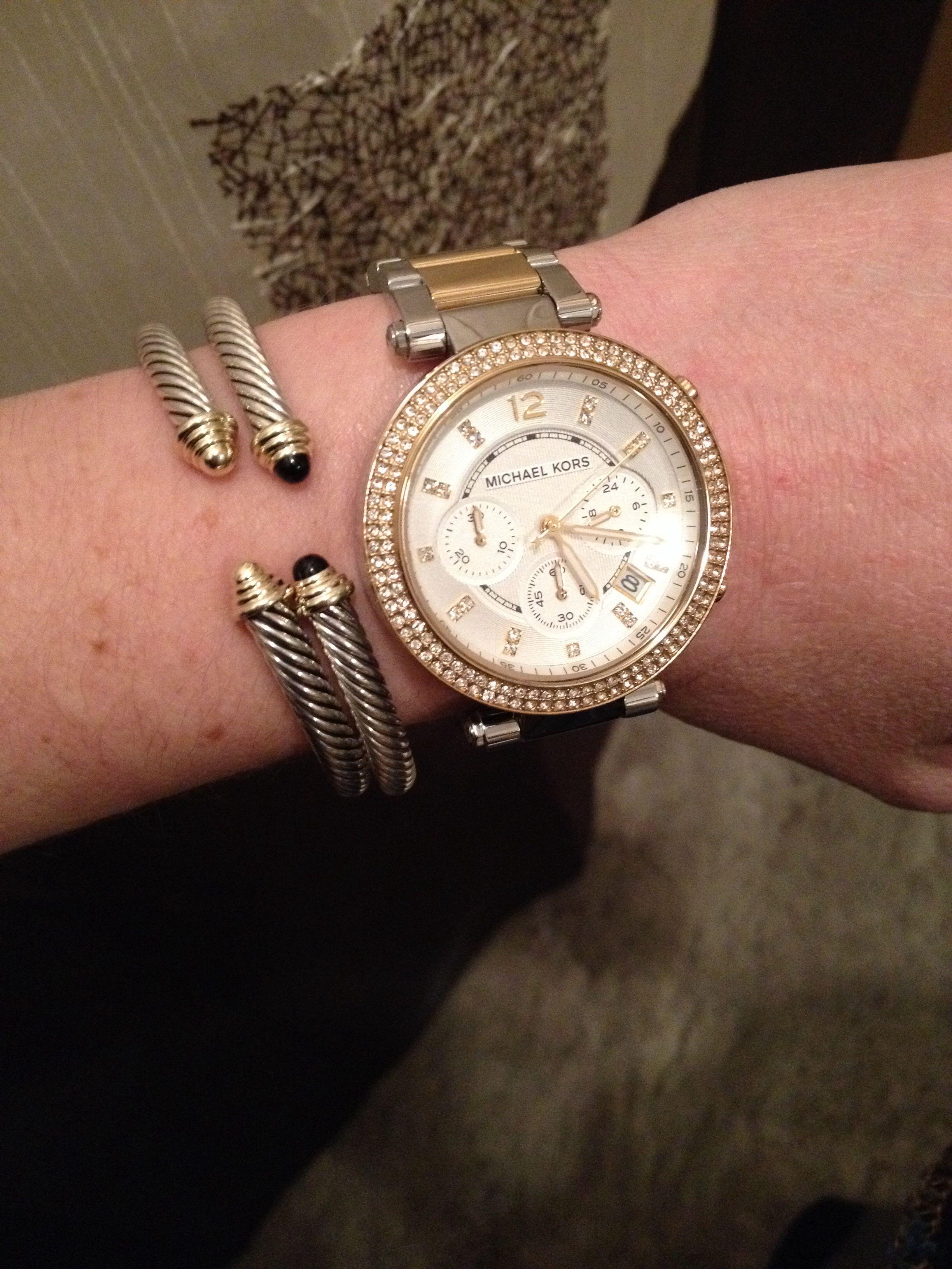 c77e94607 Arm candy , Michael kors watch , David yurman , cable bracelets , stacked  bracelets