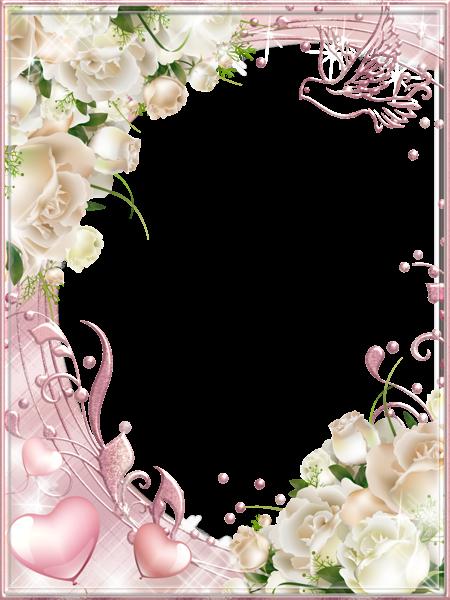 White Roses Pink Png Photo Frame Floral Border Design Rose Frame White Roses