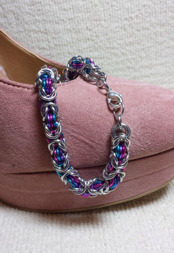 Byzantine bracelet with cotton candy colors.  http://www.etsy.com/listing/164566189/classic-byzantine-bracelet-with-cotton