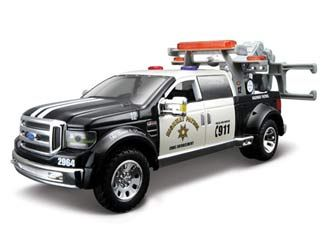 This Ford F Cast Model Car Is Black And White And Features Working Wheels And Also Opening Bonnet With Engine Doors It Is Made By Maisto And Is