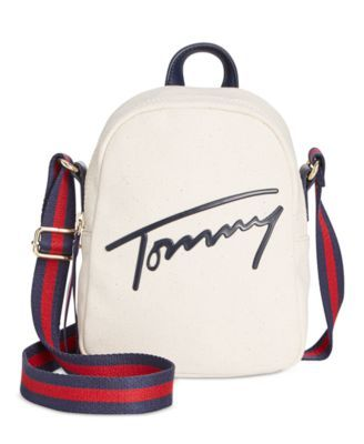 720d02858d TOMMY HILFIGER Tommy Hilfiger Tommy Script Mini Crossbody Backpack.   tommyhilfiger  bags  leather  canvas  backpacks