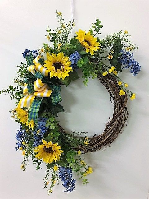 Photo of Blue and Yellow Silk Floral Spring Summer Sunflower Crescent Front Door Wreath/Summer Wreath/Sunflower Wreath/Spring Wreath/FREE SHIPPING