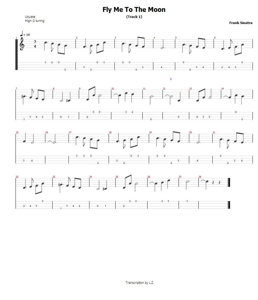 Fly Me To The Moon - Frank Sinatra Ukulele Tab | Ukulele Tabs in