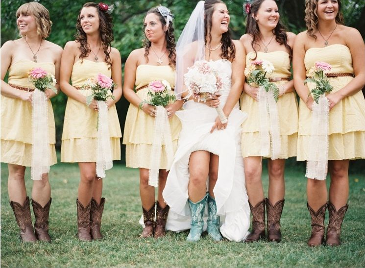 Western Boots With Bridesmaid Dresses Wedding Dresses