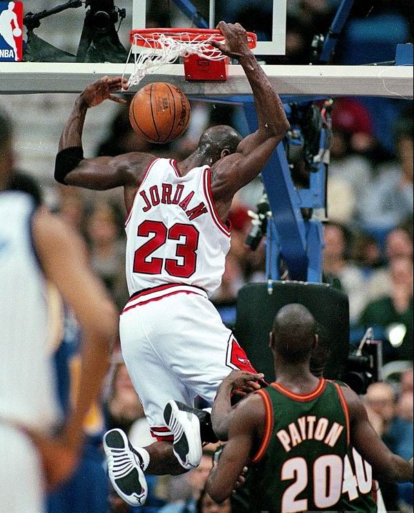 MJ swoops in during 97 all star game with his record setting - double first