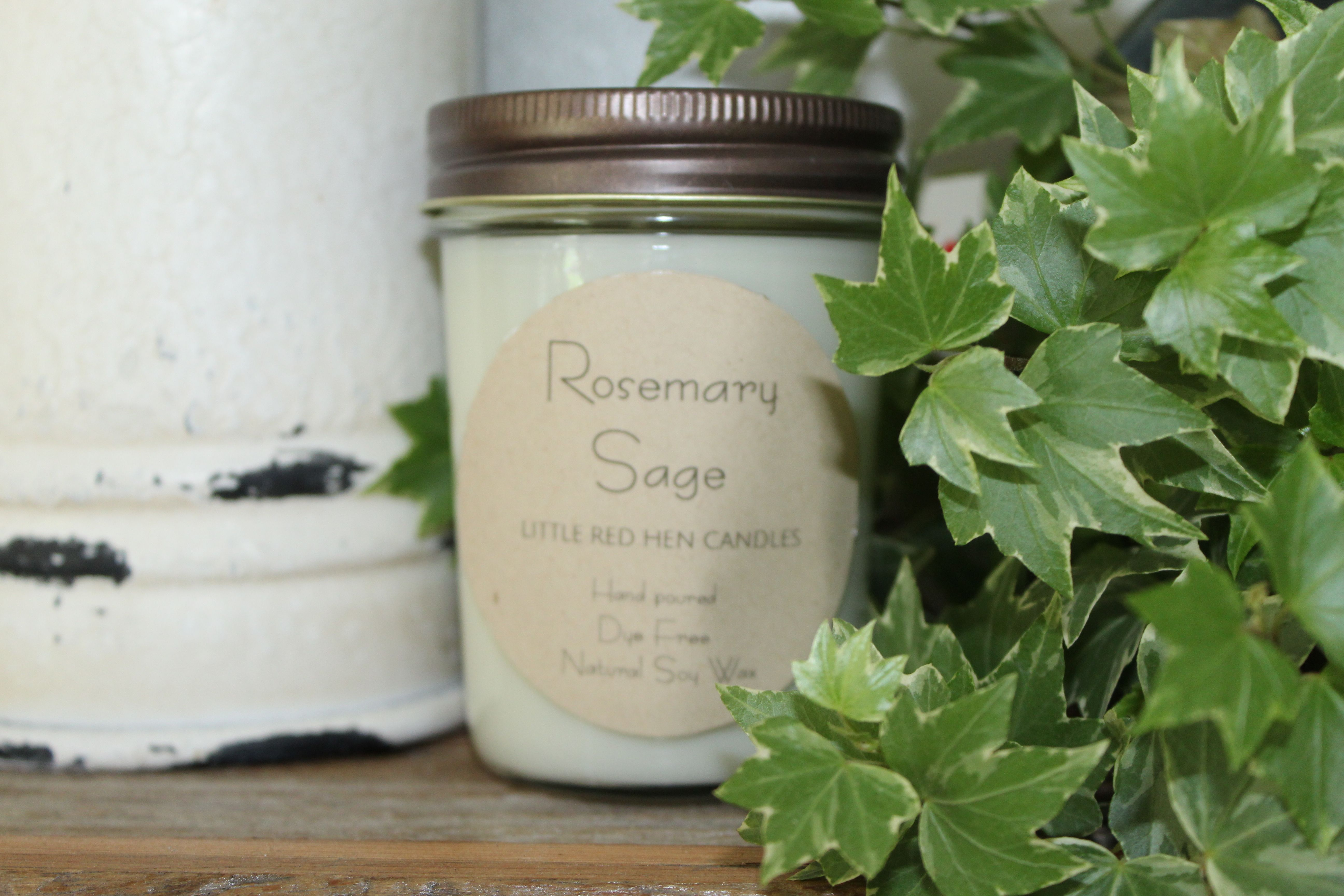 Handmade Hand Poured Rosemary Sage 3 Wick 100/% Soy Candle all Natural