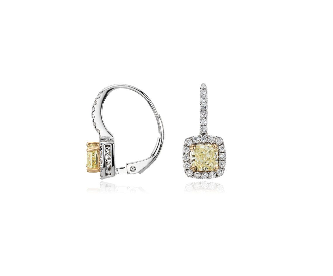 Yellow And White Diamond Earrings In 18k White Gold 1 3 8
