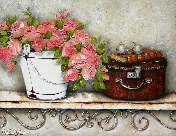 Art by Stella Bruwer white enamel bucket with coral pink roses on white shelf small cases with eye glasses and book