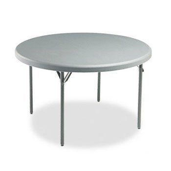 """IndestrucTable TOO 1200 Series Resin Folding Table, 48 dia x 29h, Charcoal by Iceberg. $566.95. Commercial grade table for indoor and outdoor use. Lightweight, durable and portable. Contemporary design, heavy-duty top with radius edges. Legs fold into underside and are protected when stored. Blow-molded, high-density polyethylene top is dent-, scratch-, stain-resistant and easily washable. Heavy-gauge, sturdy 1"""" steel tube legs with charcoal gray powder coated finish. Holds 60..."""