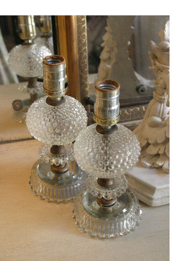 Pair Of Clear Vintage Glass Hobnail Table Lamps Glass Glass Texture Glass Lamp
