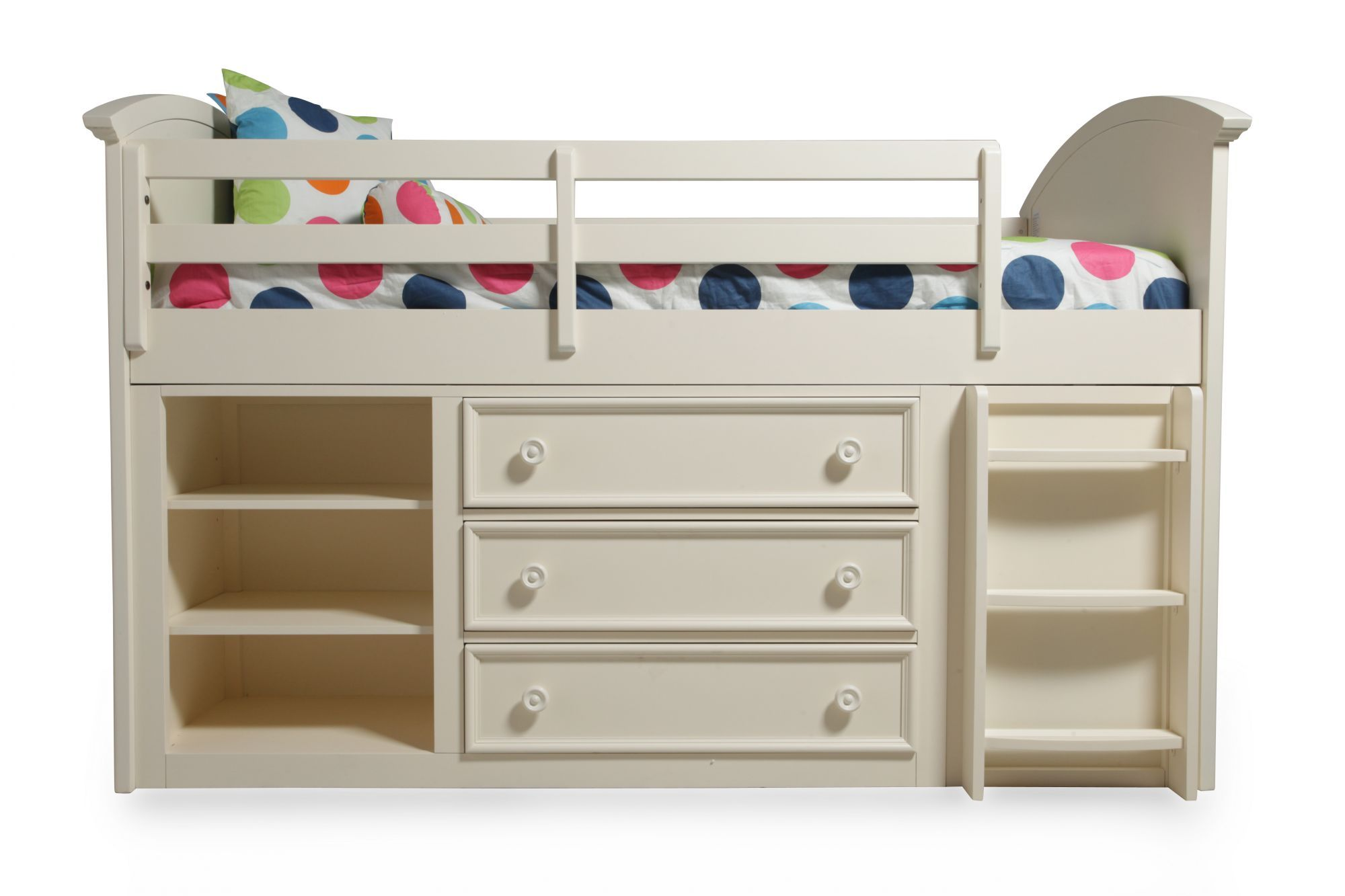 Wooden loft bed with desk  Legacy Summer Breeze Cottage White Twin Loft Bed  kiddos romms n