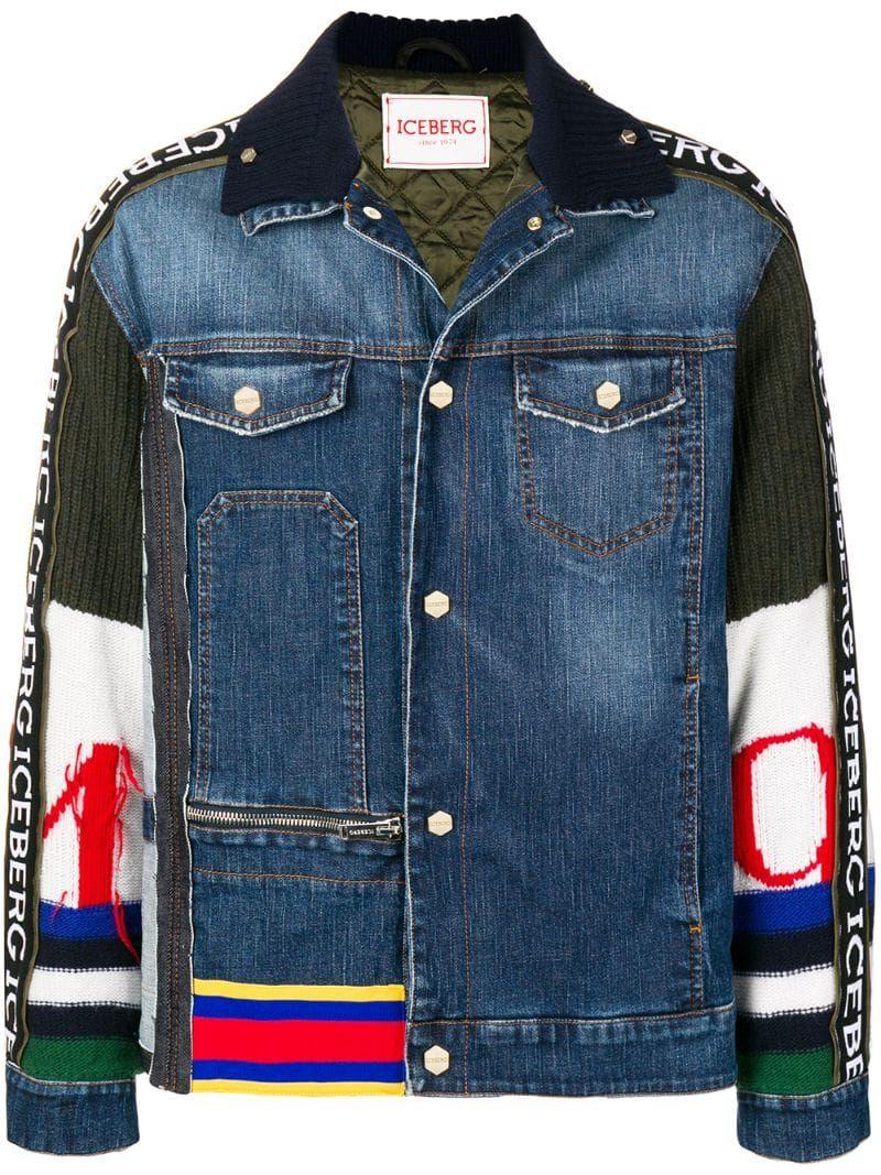 Iceberg Piumini Denim Jacket Farfetch Denim Jacket Jackets Menswear [ 1067 x 800 Pixel ]