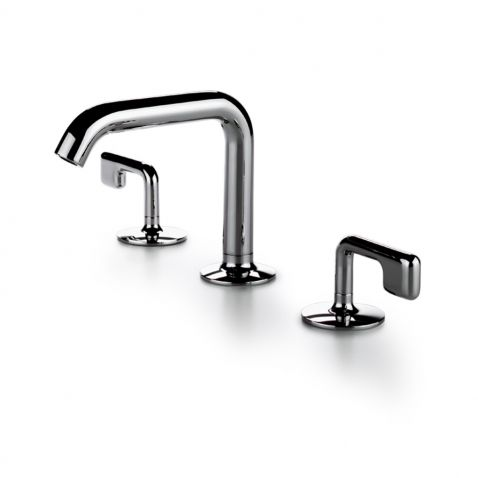 25 High Profile Three Hole Deck Mounted Lavatory Faucet With Metal