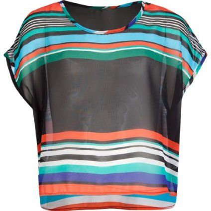 FULL TILT Sheer Stripe Girls Boxy Top $15.99