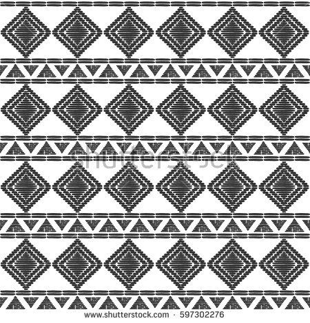 Tribal Pattern Vector Seamless African Or Native American Aztec Print Basket Background For Ethnic Fabric Wallpaper Wrapping Paper And Boho Car
