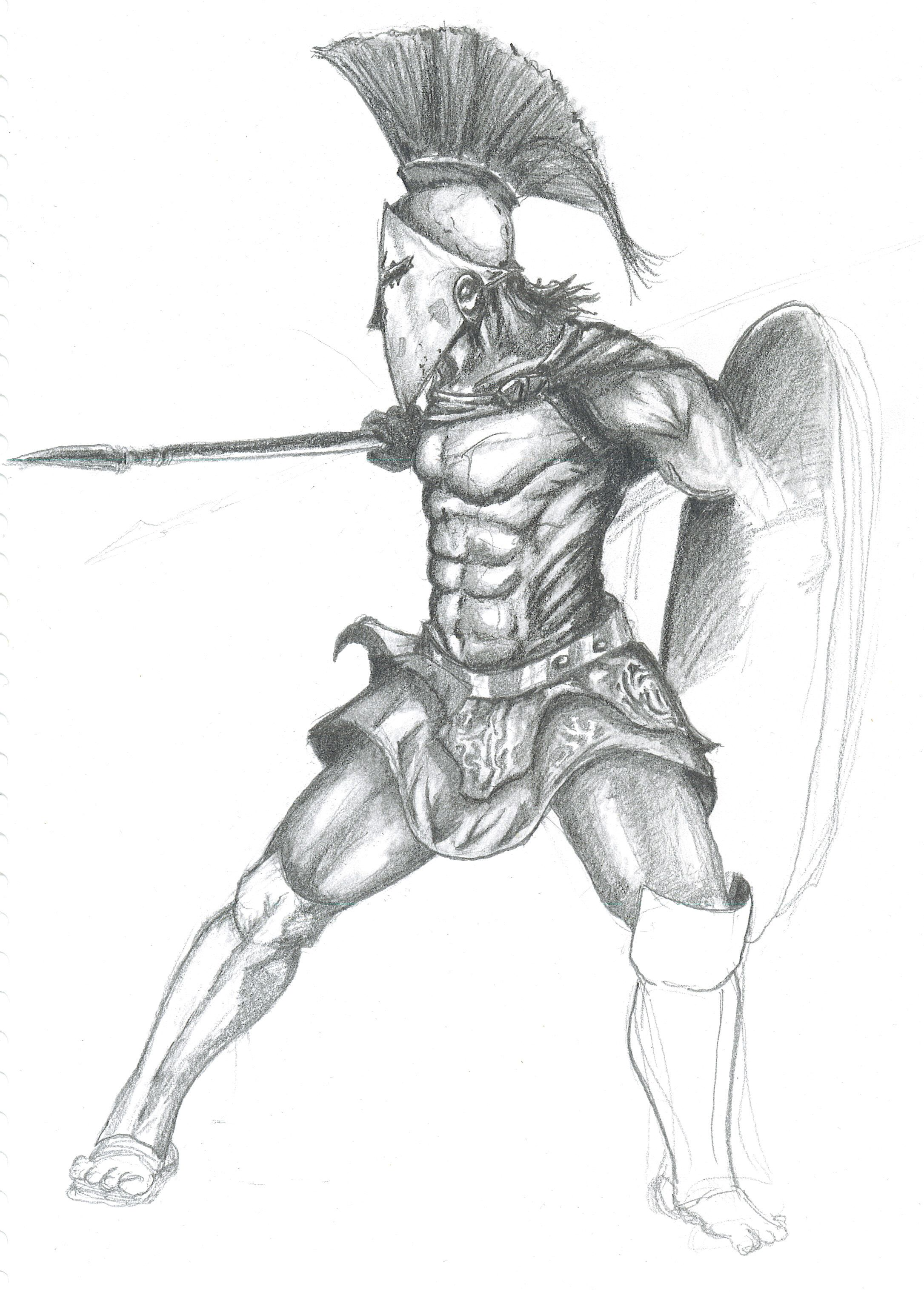 Realistic Warrior Drawings Spartan Drawing Art