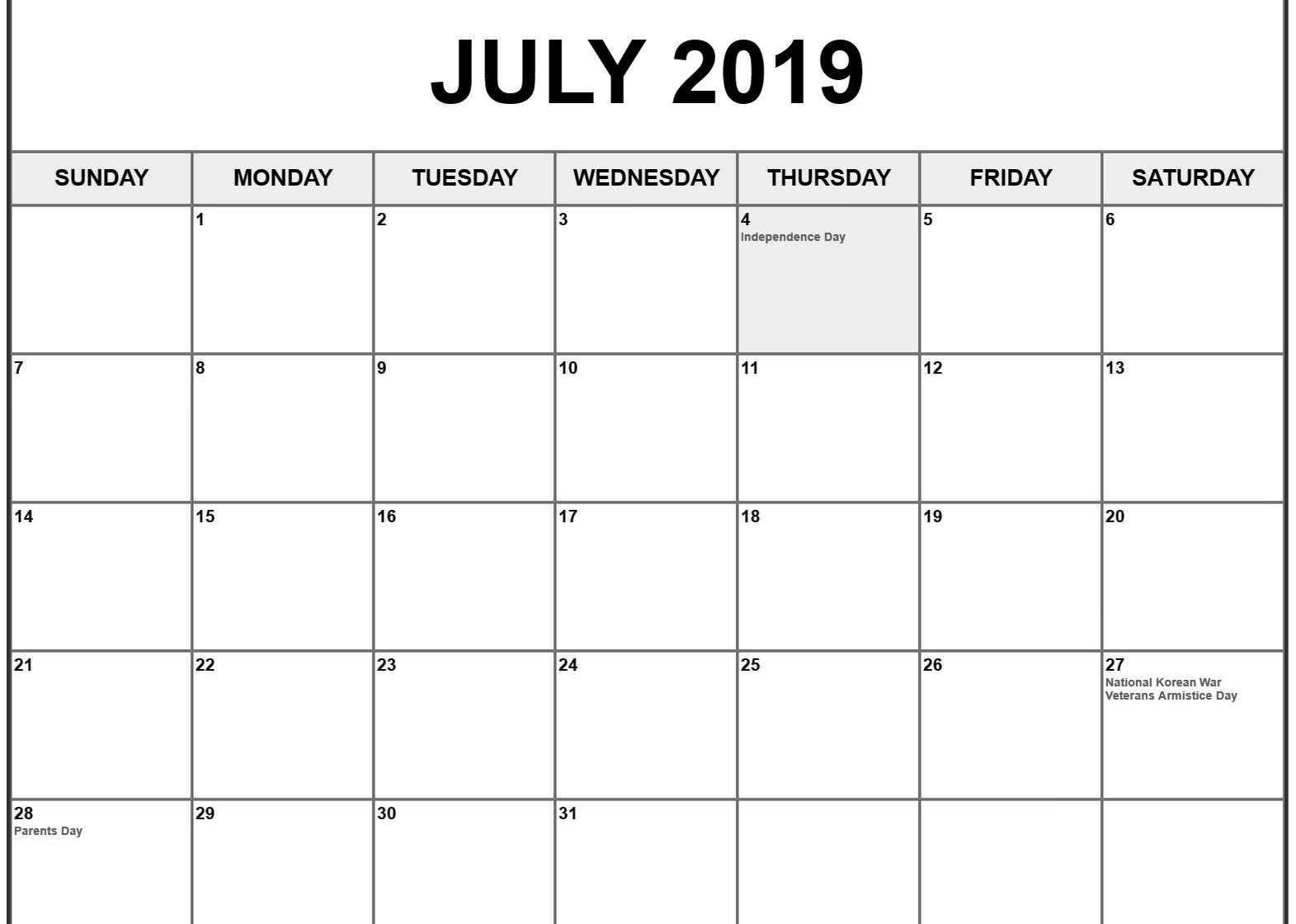 July 2019 Calendar With Holidays Us Uk Canada Australia India