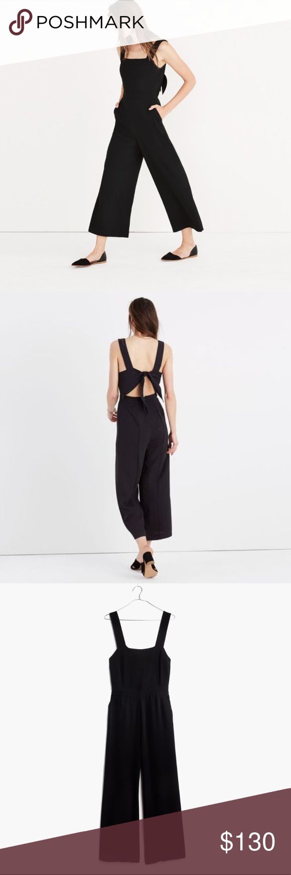 Madewell Apron Bow Back Jumpsuit Size 0 Nwt Madewell Apron Bow Back