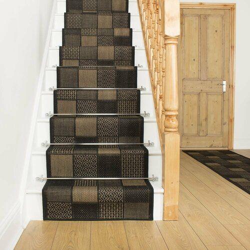 Photo of Union Rustikale Abrahams Flatweave Black Stair Runner Teppich | Wayfair.co.uk